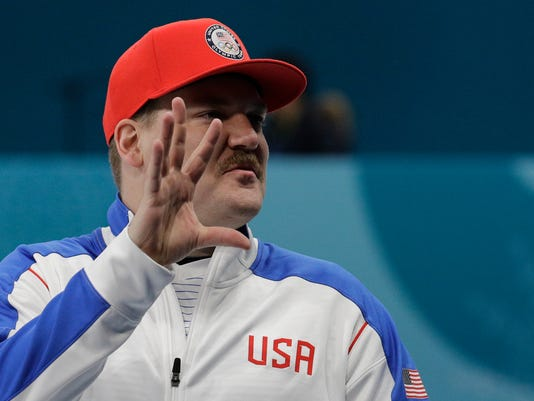 United States' mixed doubles curler Matt Hamilton gestures during training session ahead of the 2018 Winter Olympics in Gangneung, South Korea, Wednesday, Feb. 7, 2018. (AP Photo/Aaron Favila)