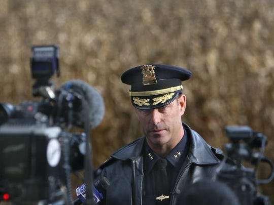 Former Monroe County Undersheriff Andrew Forsythe speaks at a news conference in Pittsford in 2013.