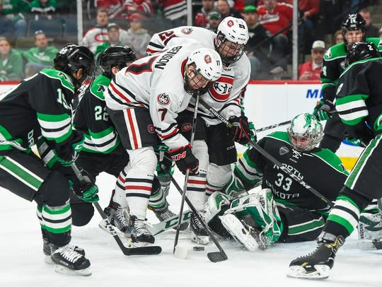 St. Cloud State's Jacob Benson and Kevin Fitzgerald