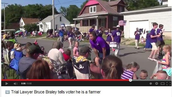 A GOP operative from America Rising PAC shot this video of U.S. Senate candidate Bruce Braley's exchange with a parade attendee in Iowa Falls on July 4, 2014.