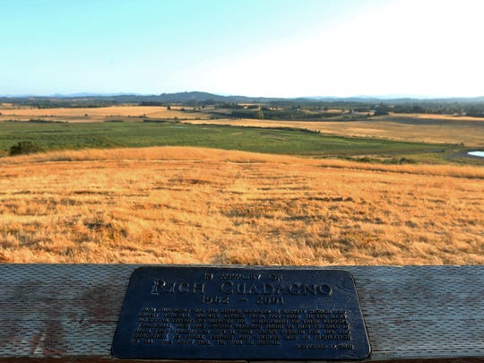 The overlook on Bald Mountain at Baskett Slough National Wildlife Refuge, Friday, August 21, 2015, near Dallas, Ore. The overlook was named for Rich Guadagdo who died in Pennsylvania during the Sept. 11, 2001 attacks.
