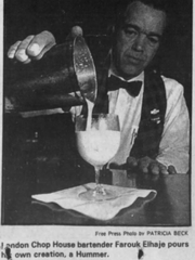 Farouk Elhaje pours a Hummer in this photo published in the June 16, 1982 edition of the Detroit Free Press.