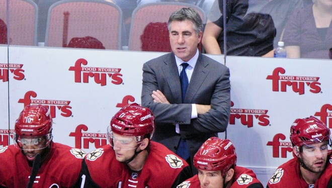 Oct. 15, 2015; Glendale; Arizona Coyotes coach Dave Tippett looks on during the first period against the Minnesota Wild at Gila River Arena.