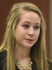 "Emily Morales weeps as she talks about Larry Nassar during her victim impact statement Jan. 23, 2018. Nassar referred to her as ""my little monkey,"" she said."