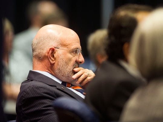 University of Tennessee President Joe DiPietro listens during the 2017 UT Board of Trustees meeting.