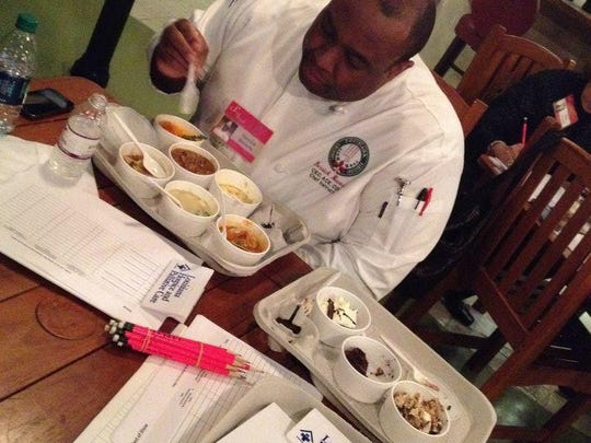 Chef Derrick Beverly of the Louisiana Culinnary Institute judges during the 2014 Soiree Royale.