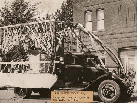 Pet Parade Float 1931 Virginia Koch, LJ Koch Jr., and
