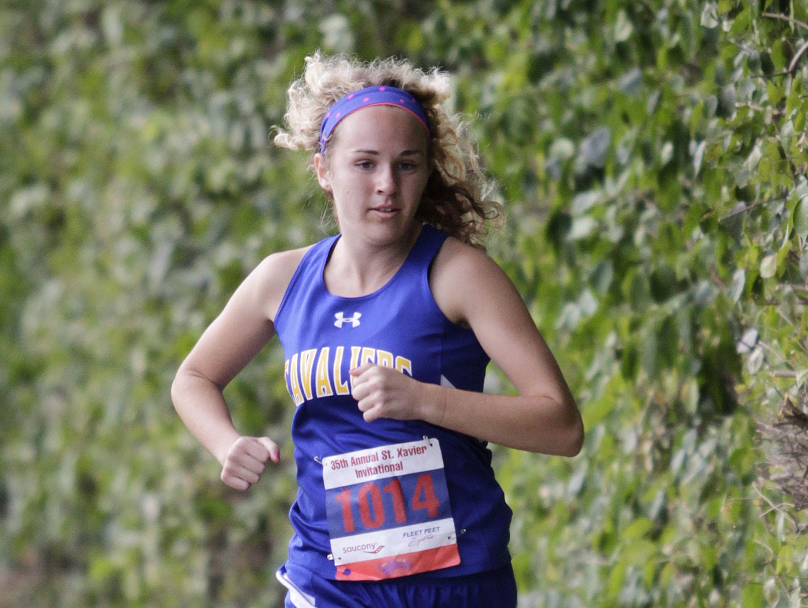 Kansas Greenwell of Purcell Marion sports her signature bright socks for a race.