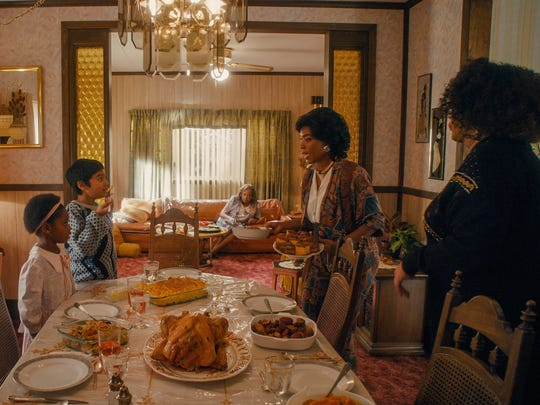 Young Denise (Heaven McCoy, left) and Dev (Vijay Mahimtura) spend every Thanksgiving together with Denise's grandma (Venida Evans), mom (Angela Bassett) and aunt (Kym Whitley).
