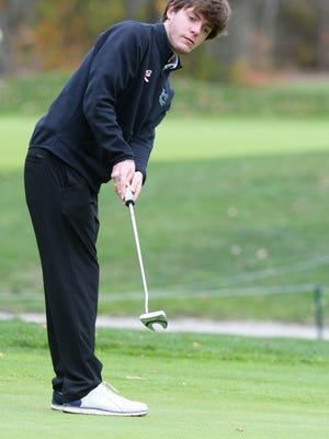 Canton's Thomas Singleton, 17, at Pine Oaks Golf Course in Easton, on Tuesday, Oct. 27, 2020.