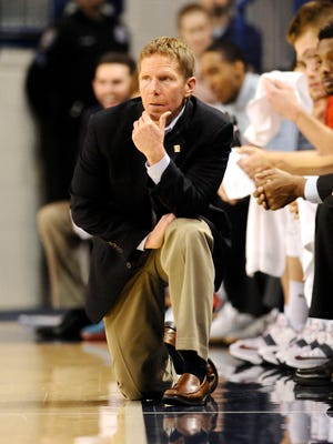 Gonzaga Bulldogs head coach Mark Few looks on during a game against the Saint Thomas Aquinas Spartans during the first half at McCarthey Athletic Center.