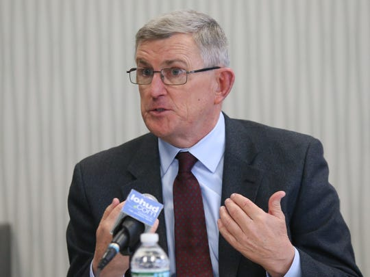 Bob Hoatson talks during an editorial board meeting