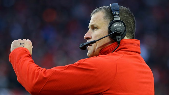 Ohio State Buckeyes defensive coordinator Greg Schiano against the Penn State Nittany Lions at Ohio Stadium