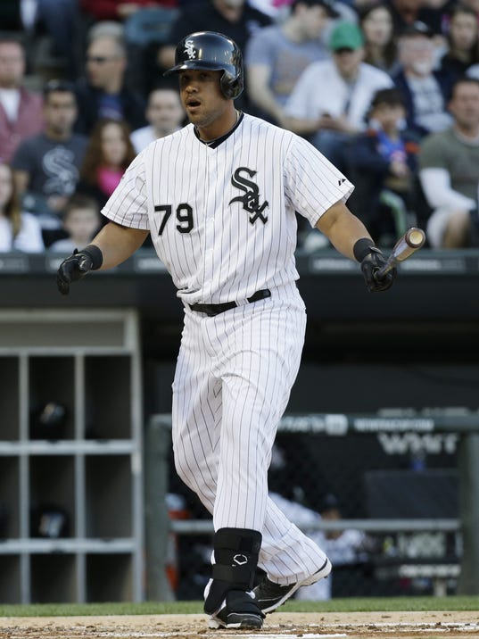Chicago White Sox's Jose Abreu reacts after striking out swinging during the first inning of an interleague baseball game against the Arizona Diamondbacks in Chicago on Saturday, May 10, 2014. (AP Photo/Nam Y. Huh)