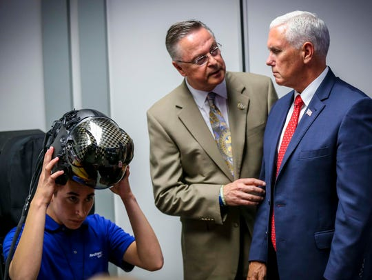 Vice President Mike Pence talks to U.S. Representative