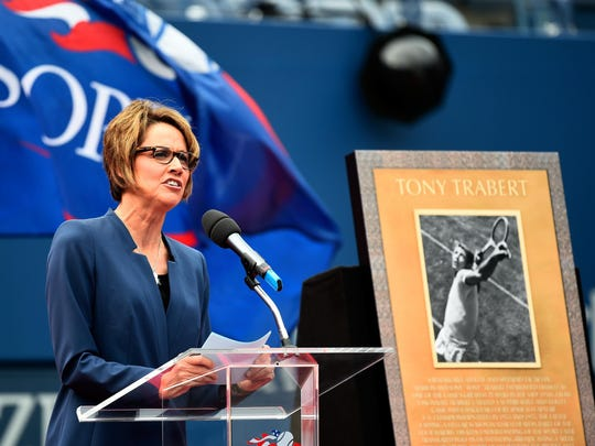 Mary Carillo speaks during a ceremony honoring Tony Trabert at the 2014 US Open at the USTA Billie Jean King National Tennis Center on Sept. 8, 2014.