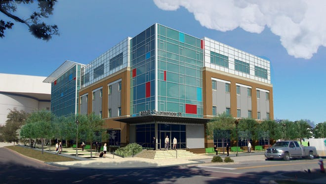Rendering of Space Florida's proposed building for the Technology Park in Pensacola.