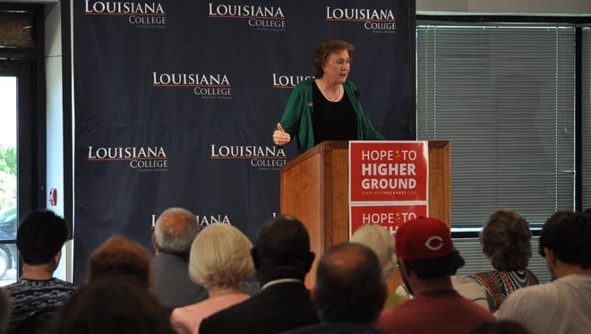 Janet Huckabee, wife of GOP presidential candidate Mike Huckabee, addresses Louisiana College faculty and students as well as members of the public Wednesday during a stop on her tour of Louisiana.