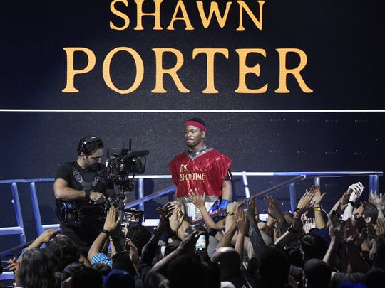 Boxer Shawn Porter is introduced for his welterweight