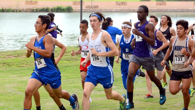 Carlsbad's Riley Smith runs with the pack Saturday at the Ron Singleton Invitational.