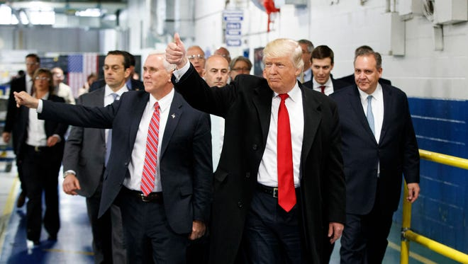 President-elect Donald Trump and Vice President-elect Mike Pence in Indianapolis on Dec. 1, 2016.