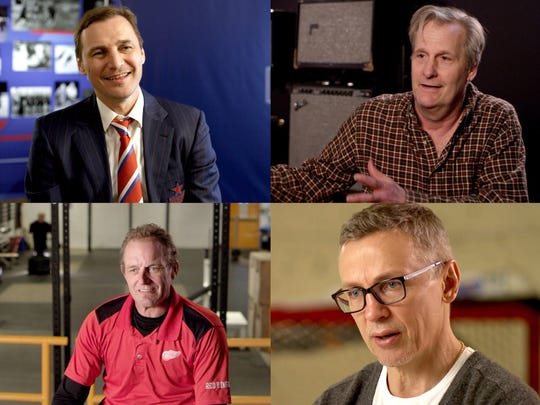 "Featured in the documentary ""The Russian Five"" are (clockwise from top left) Sergei Federov, Jeff Daniels, Igor Larionov and Darren McCarty."