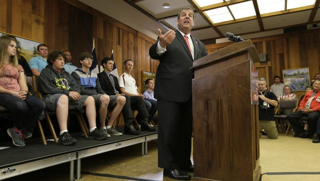 New Jersey Gov. Chris Christie speaks about education reform, Thursday, June 11, 2015, at Iowa State University in Ames, Iowa.