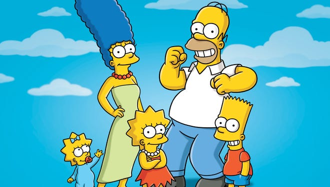 "This publicity photo released by Fox shows characters from the animated series, ""The Simpsons,"" from left, Maggie, Marge, Lisa, Homer and Bart."