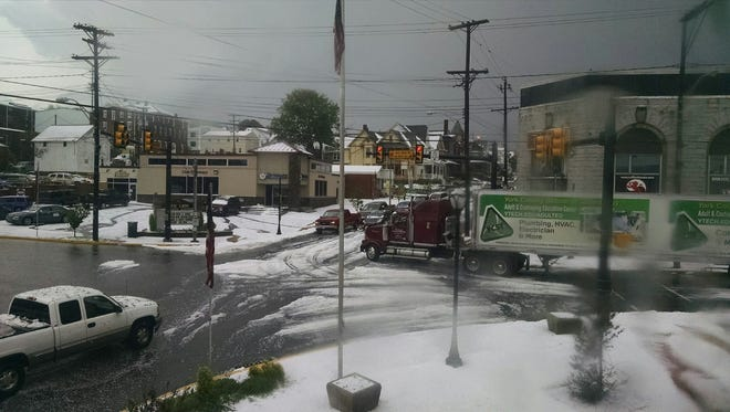 Jon Persing shared this photo of hail in Red Lion on Monday.