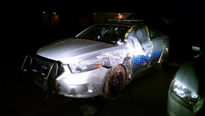 A Bellville police officer was treated and released at a local hospital Tuesday night after a high speed pursuit led to a crash on Bolinger Road.