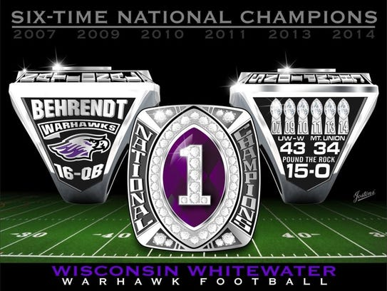 UW-Whitewater 2014 football championship ring