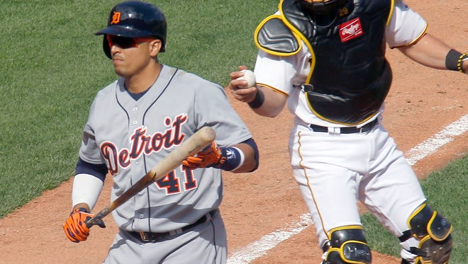 Detroit Tigers pinch-hitter Victor Martinez plays against the Pittsburgh Pirates on Monday, April 13, 2015, in Pittsburgh.