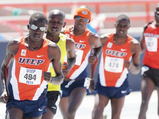 Rudy Gutierrez—El Paso Times UTEP'S Anthony Rotich, left, leads the pack on his way to a first place finish in the men's 1500 Meter Run Saturday during the UTEP Invitational Track and Field Meet at Kidd Field.