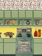 """Sue Johnson, """"Early Sunday Morning in the Kitchen"""" from """"Ready-Made Dream"""" series. Print on vinyl. 115 by 376 inches. From """"Sue Johnson: Home of Future Things"""" at the Fogelman Galleries."""