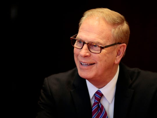 Former Ohio Governor Ted Strickland speaks with the Enquirer Editorial Board at the Enquirer offices in downtown Cincinnati on Feb. 15.