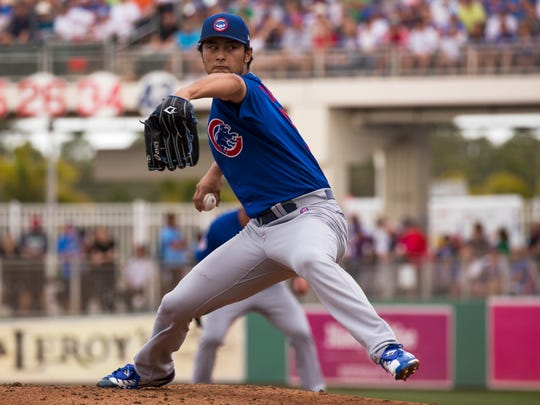 Chicago Cubs pitcher Yu Darvish was the starter against the Boston Red Sox during their spring training matchup Monday at JetBlue Park in Fort Myers.