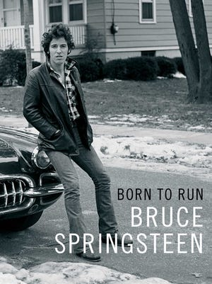 """The cover of Bruce Springsteen's book, """"Born to Run."""""""