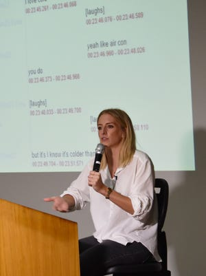 Eva Kuske, graduate student from the University of Bern in Switzerland, reports her recent findings in a project focusing on the English dialect present among Chamorros on Guam, at the University of Guam on Oct. 11, 2017.