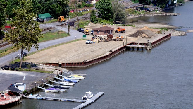 This view of the 1.76-acre Highland Landing Park, shown surrounded by a bulkhead, is from the Walkway Over the Hudson in Highland. More than 4,000 cubic yards of dirt has been screened during the multi-year project, which has been supported by a large volunteer effort.