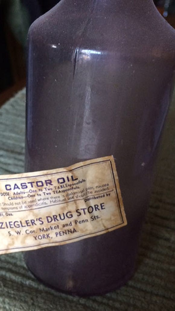 Terry Clay shared this image of a Ziegler's Drug Store castor oil bottle picked up some years ago at an antique shop.