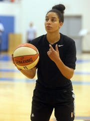 """Bria Hartley shoots during a New York Liberty practice at the team's practice facility in Greenburgh Aug. 17, 2017. On Sunday, the team will hold a  """"Unity Day"""" at Madison Square Garden. The day, which will feature events before and after their regularly scheduled game, is in response the recent events in Charlottesville, Virginia."""
