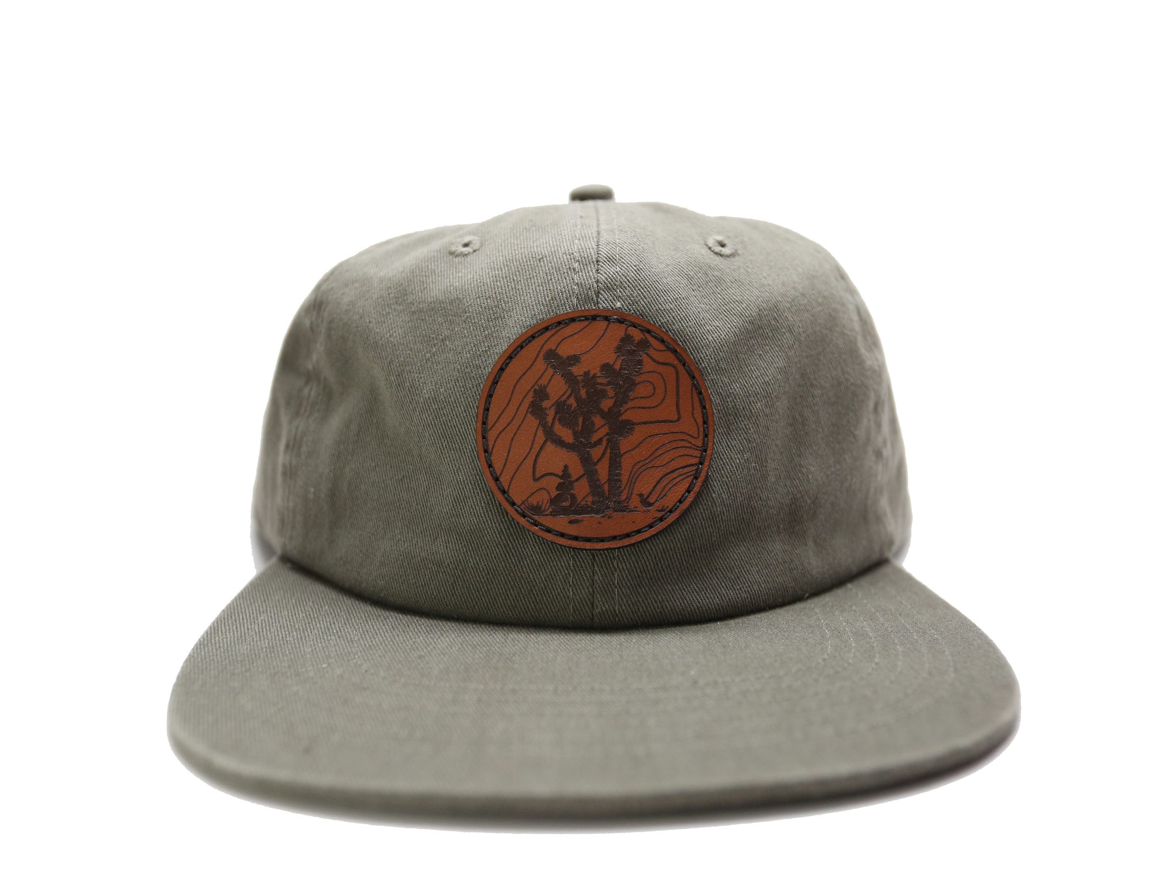 The Joshua Tree Olive 6 Panel Cap is made of washed