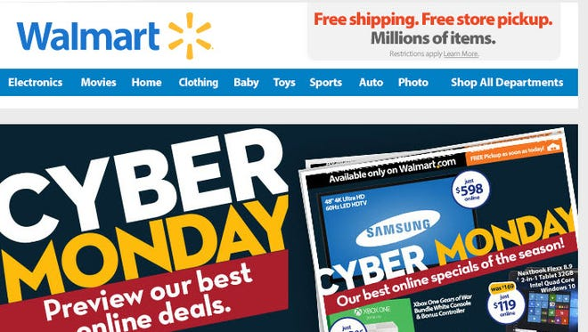 Walmart's Cyber Monday deals available at 8 p.m. Sunday eastern.