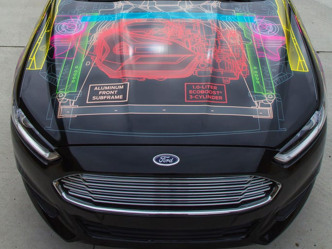 Ford's lightweight Fusion shows all its features in an outside graphic