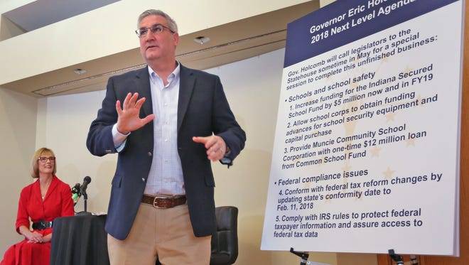 Gov. Eric Holcomb speaks to the press Monday about his goals for the next level of his 2018 agenda, during a press conference at the Governor's residence.