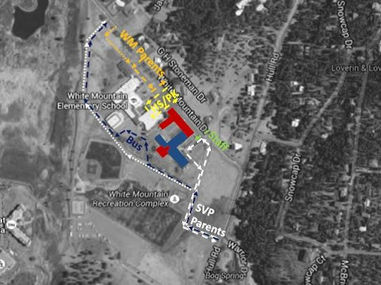 The blue area is the existing Sierra Vista Primary school. The red area shows where the Nob Hill project will go.