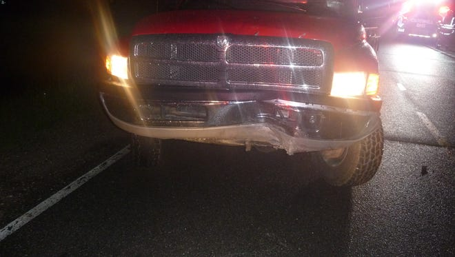A Croswell Fire Department rescue truck was damaged in a crash Tuesday.