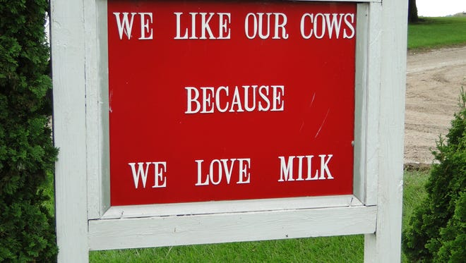 The Hildebrandt family has been active in promoting agriculture, dairy products and now beef.  This sign has been posted outside their farm for several generations.