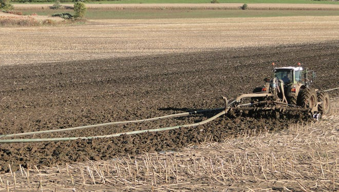 As farmers empty their manure storage pits in the fall, they are looking for ways to prevent nutrient losses and save wear and tear on roads by utilizing hoses.