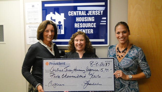 The Provident Bank Foundation recently presented a $5,000 grant to the Central Jersey Housing Resource Center (CJHRC). From left:Jane Kurek, executive director of The Provident Bank Foundation,Sharon M. Clark, executive director of CJHRC, and Vanda Ferreira, 1st VP/Market Manager of Provident Bank.